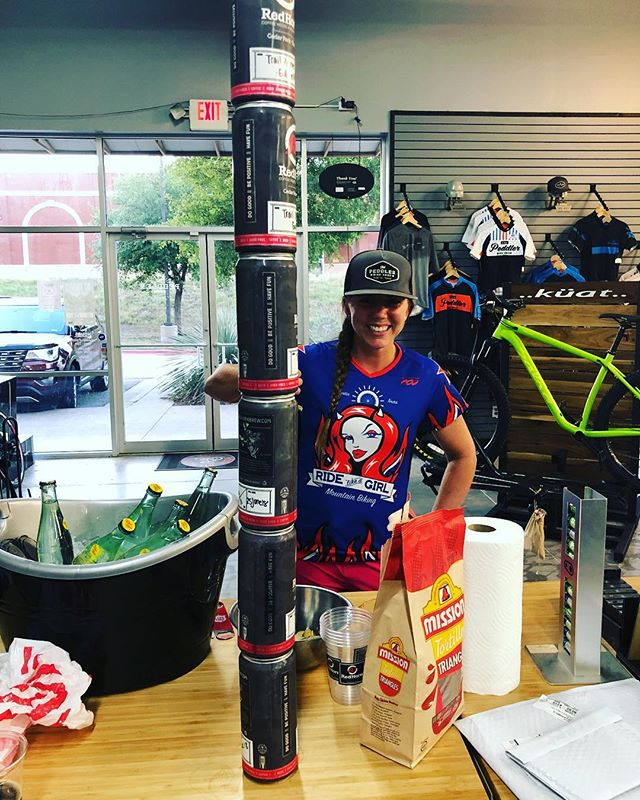 The leaning tower of lady power. RLAG took care of them crowlers after working up a mean thirst on their 96 degree ride. That was fun!