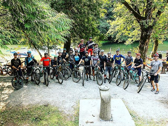 "A group of strong and reasonably insane people I got to ride today's ""Long Enduro"" loop with.  Definitely just trying to hang on both up and downhill."