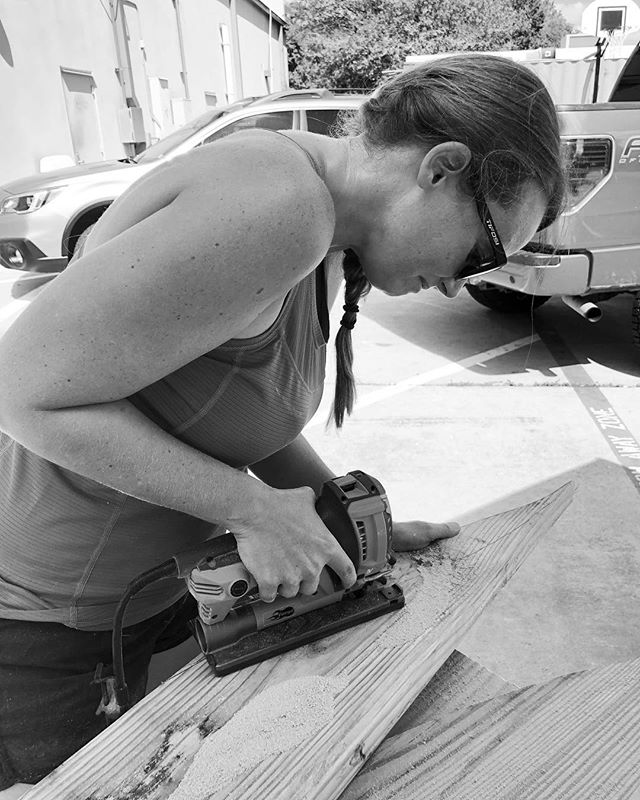 @christafrench womaning the saw during the wood roller build  #femmetrailbuilders #austinmountainbiking